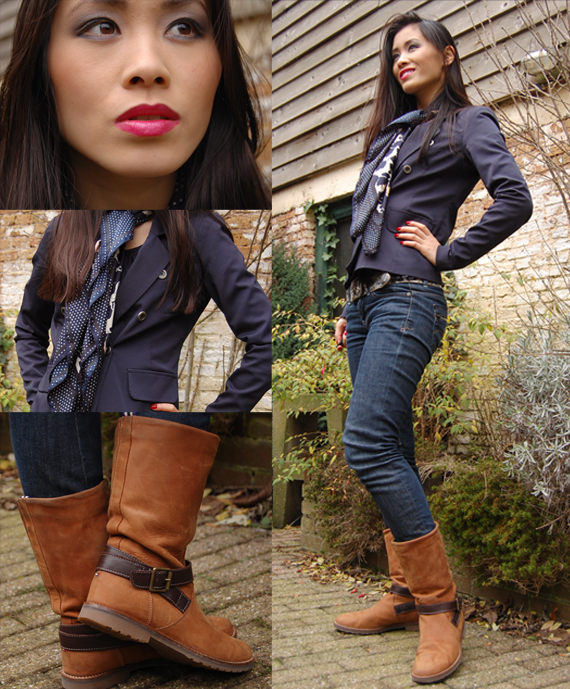 My-Huong-Fashion-STyle Outfit: Marine blauwe blazer + tommy boots