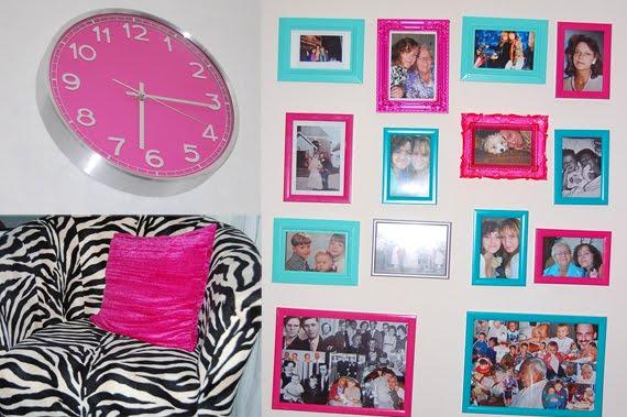ellen-roze-klok-bank-fotolijstjes-muur MOVIE: Ellen's pink crib + shoes & fashion warderobe