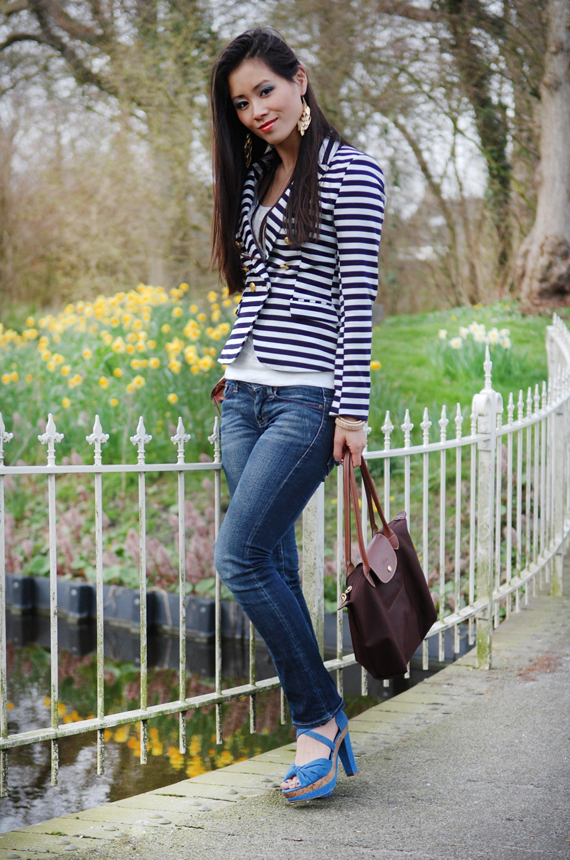 My-Huong-Chanel-jes-jeans-hm-blazer-blue-stripes-longchamp Look of today: The Sailor Blazer with Les Jeans