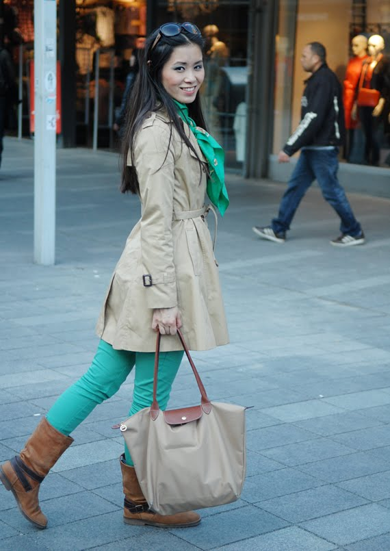 go-green-look-longchamp-bag-tommy-hilfinger-boots The green skinny look
