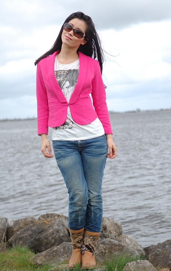 Blazer-roze-pink-my-huong-jeans-kelim-boots-chanel-sunglasses Look of today: Kelim boots & Pink blazer