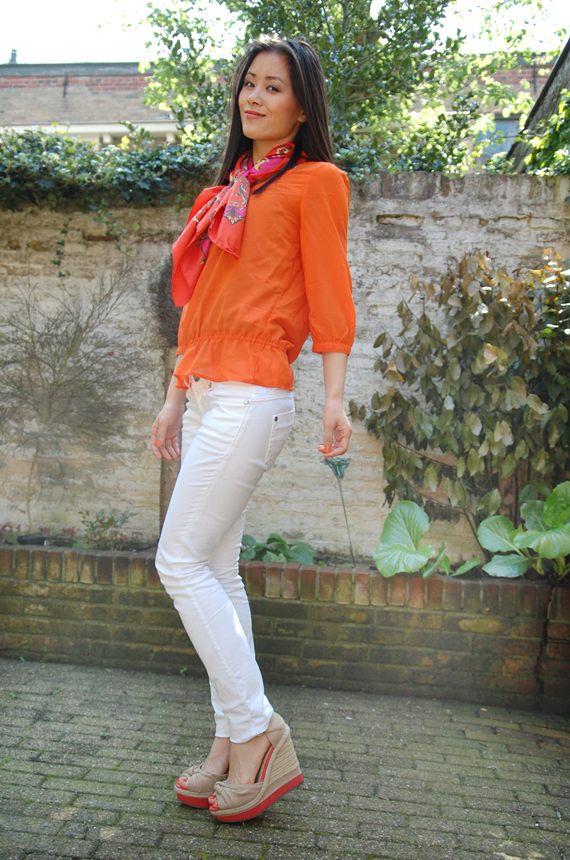Tangerina-oranje-blouse-koninginnedag-outfit Look of today: Tangerina