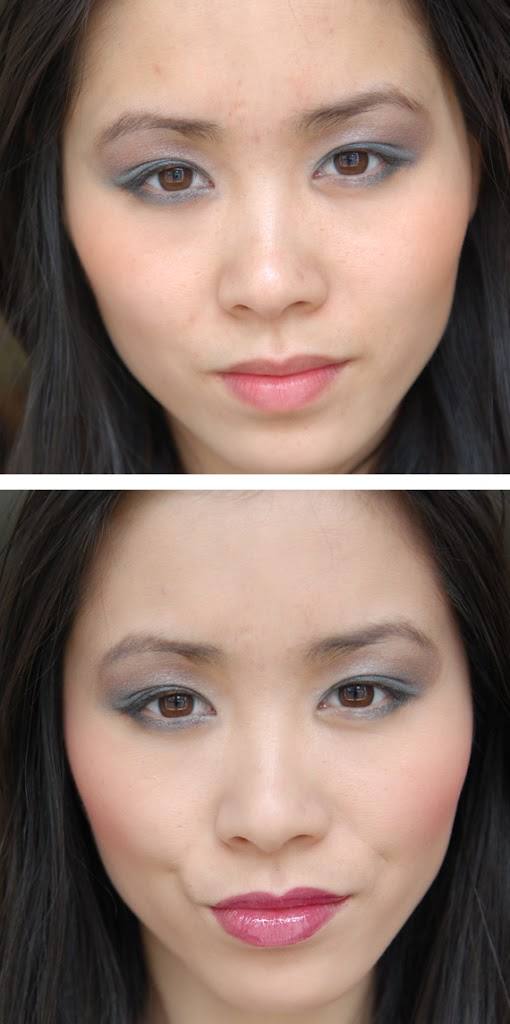 Voor-en-na-foundation-clarins Clarins Make-up: Ombre Minerale Blue Sky, Gloss Prodige& Foundation Ever Matte