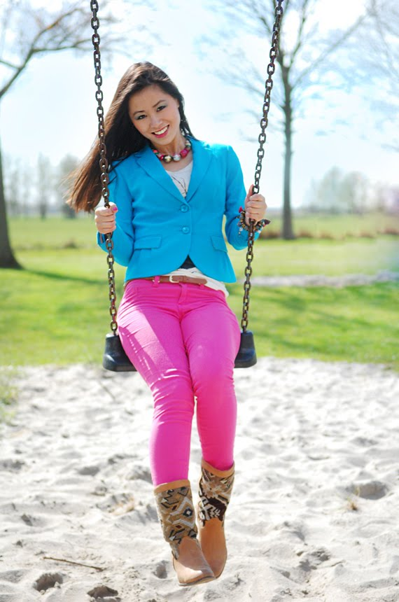 clourblocking-blazer-blue-pink-skinny-pants Look of today: Colourblocking with Blue & Pink
