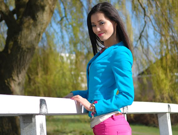 colourblocking-blue-blazer-pink-skinny Look of today: Colourblocking with Blue & Pink