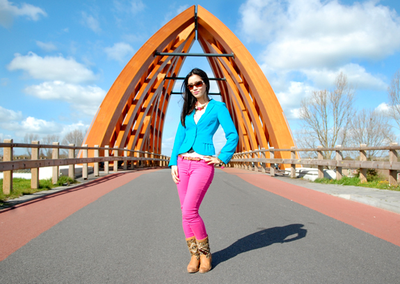 colourblocking-pink-skinny Look of today: Colourblocking with Blue & Pink