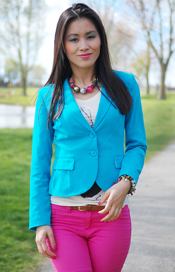 my-huong-look-of-today-outfit Look of today: Colourblocking with Blue & Pink