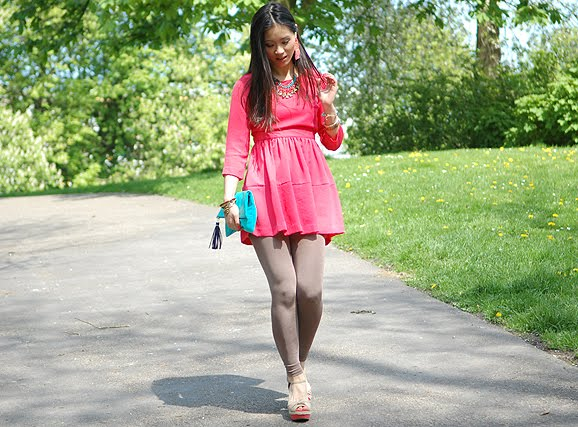Koraal-blauw-roze-pink-Dress-2012-my-huong Look of today: The coral pink dress!