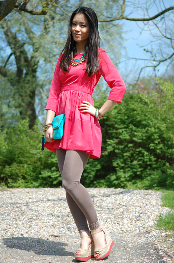 Koraal-roze-dress-koraal-blauw Look of today: The coral pink dress!
