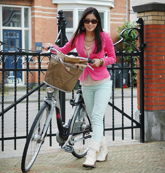 my-huong-outfit-chanel-bril Look of today: Roze blazer vs. mintgroene skinny