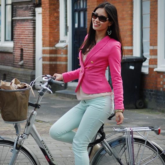 my-huong-outfit-look-pastel-roze-blazer-pink-hm Look of today: Roze blazer vs. mintgroene skinny