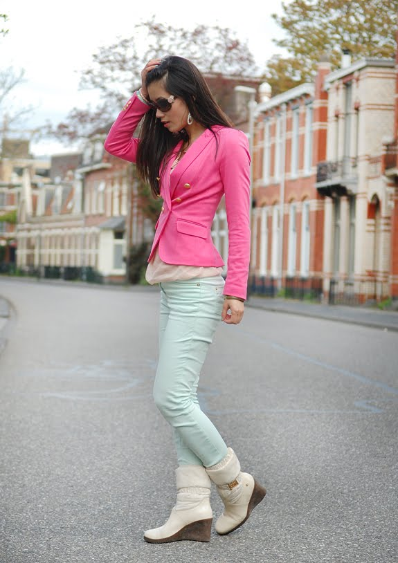 my-huong-outfit-look Look of today: Roze blazer vs. mintgroene skinny