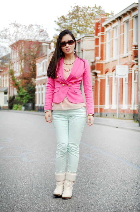 my-huong-outfit-of-today-look Look of today: Roze blazer vs. mintgroene skinny