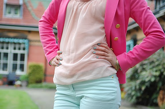 outfit-roze-blazer-pastel-my-huong Look of today: Roze blazer vs. mintgroene skinny