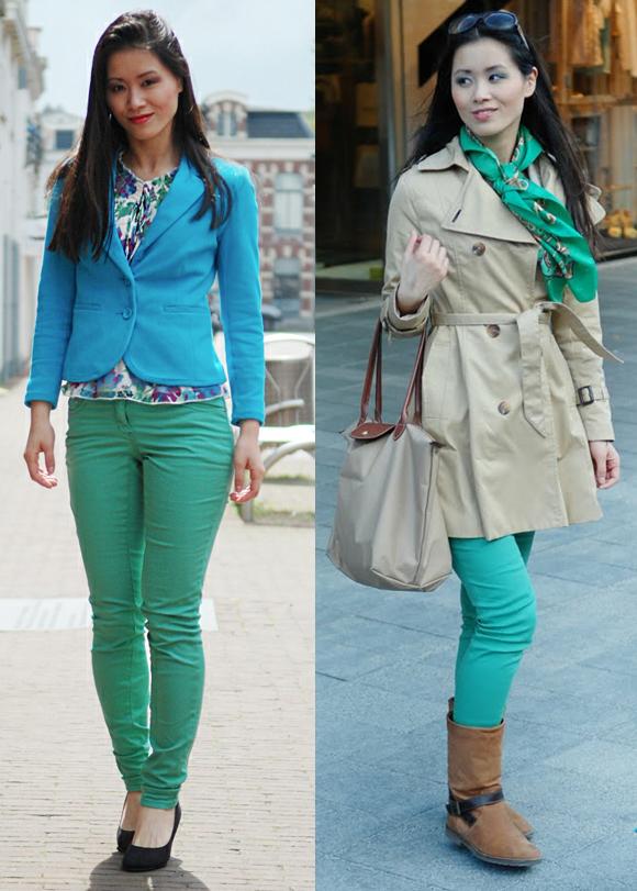 Groene broek combineren met blauw