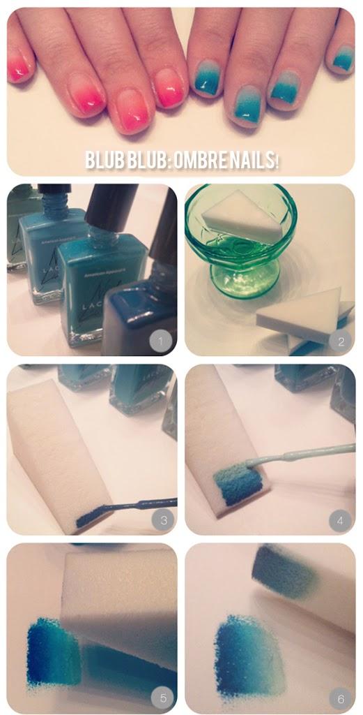 Ombre-nails-blue-gradient DIY: Ombre nails!
