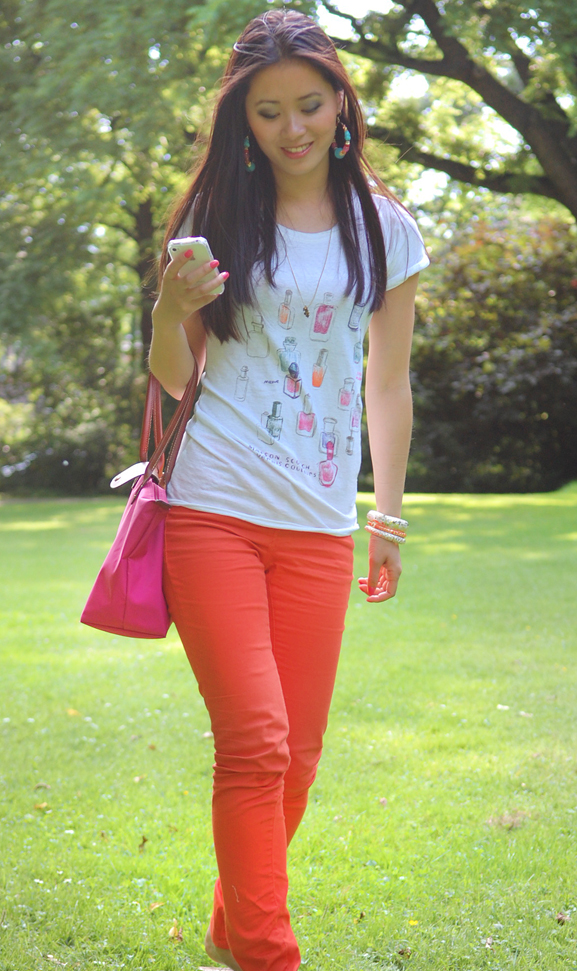my-huong-look-outfit-orange-skinny Look of today: casual summer outfit