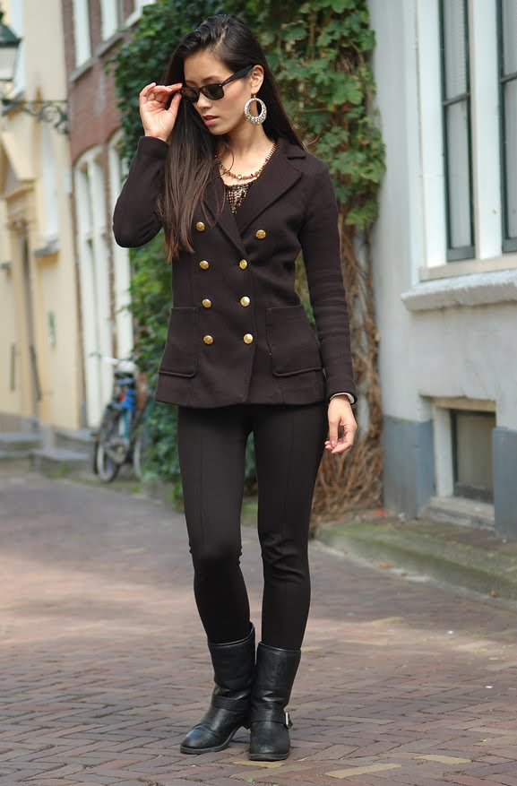 My-Huong-outfit-black-biker-boots-blazer Outfit: Black vs. Gold