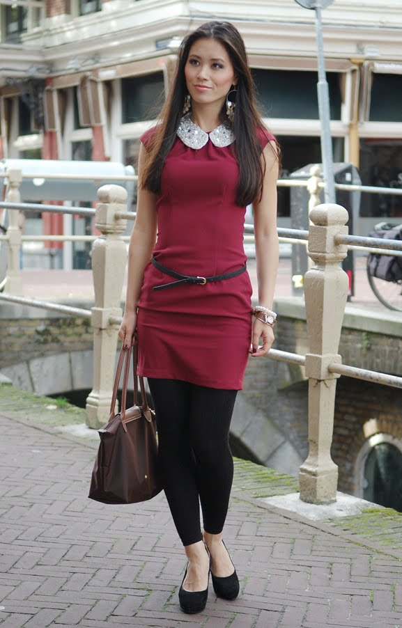 MY-HUONG-leeuwarden-outfit-fashion-blogger-burgundy-jurk-model Outfit: Style in Burgundy
