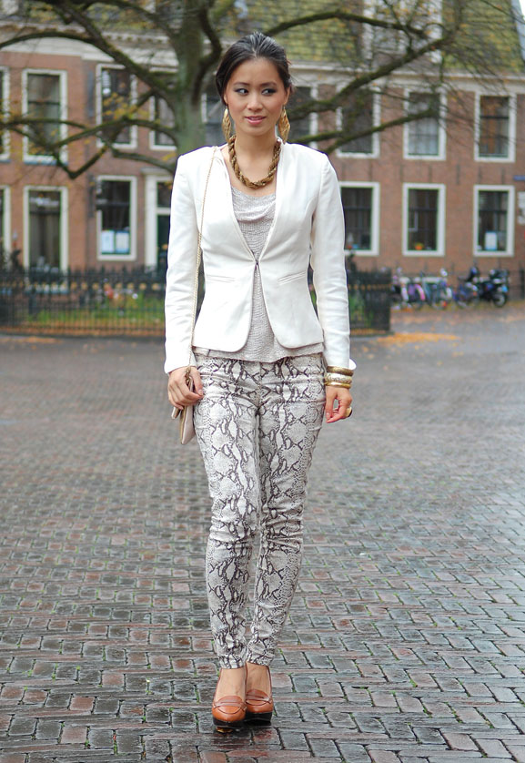 My-Huong-slangenrpint-chique-with-snake-print Outfit: The golden snake look