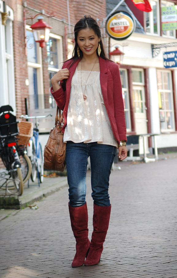 herfstoutfit-2012-goud-bordeaux-burgundy-laarzen-jeans My outfits for 7 days