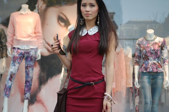 my-huong-autumn-dress-look Outfit: Style in Burgundy