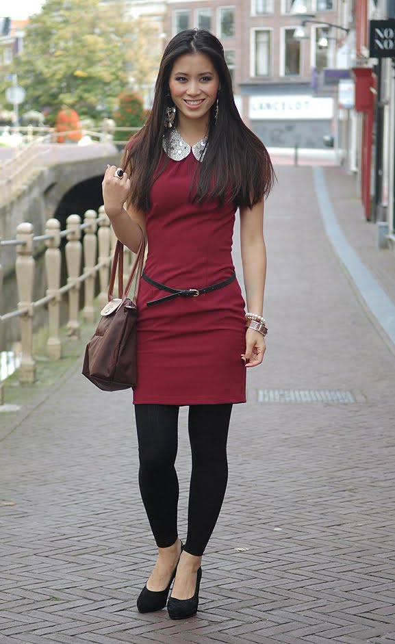 my-huong-autumn-look-red-kraag-hm-bordeaux Outfit: Style in Burgundy