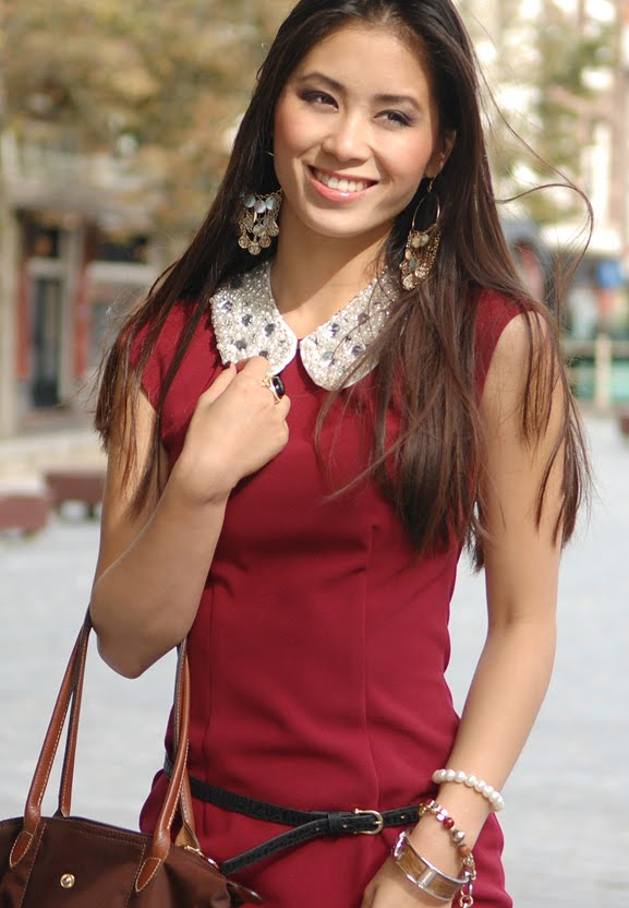 my-huong-bordeaux-burgundy-chique-red-dress-kraagje-outfit-hm-lonhchamp-herfst Outfit: Style in Burgundy