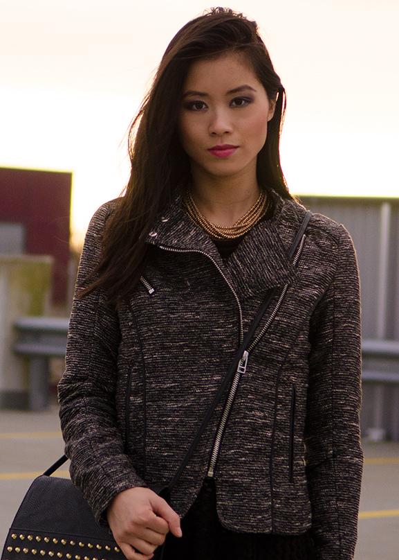 My_Tweed-jacket-Studs-look-outfit-black-clutch-hm Supertrash regenlaars
