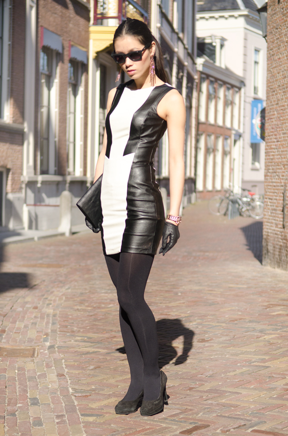 Black-leather-lace-dress Outfit: The Black leather dress