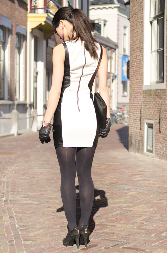 Leather-Dress-black-white Outfit: The Black leather dress
