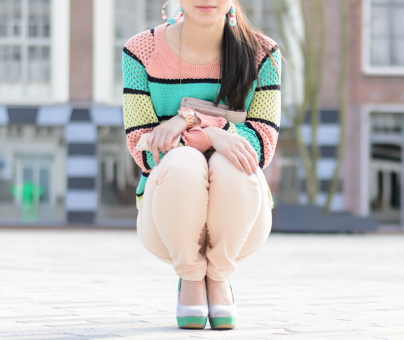 maison-scotch-trui-colour-2013-spring-look-peachy-supertrash-broek-missroberta-pumps-colour-colorswitch-michael-kors-rose-watch Outfit: Peach spring look