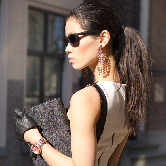 my-huong-leather-black-bidutchy-michael-kors-clutch-face Outfit: The Black leather dress