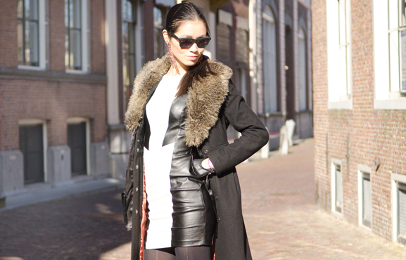my-huong-leather-dress Outfit: The Black leather dress