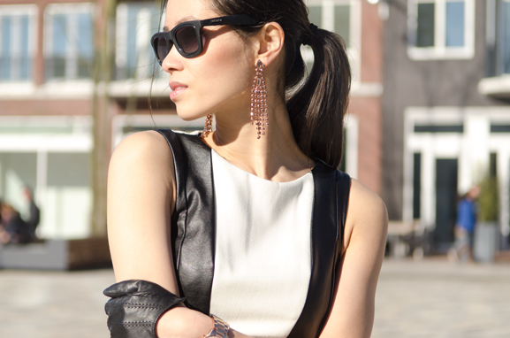 my-huong-outfit-leather-sunny-day-in-leeuwarden-zaailand Outfit: The Black leather dress