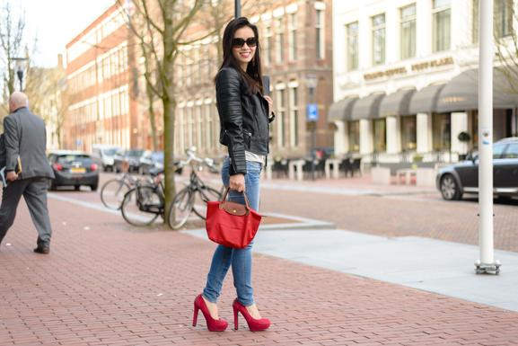 Biker-jack-longchamp-red-miss-ROberta-outfit Outfit: Biker jack Mango