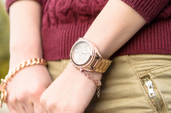 Horloge-Michael-Kors-Rose-TOV-armband-Schakels-Outfit Outfit: Lady in Red