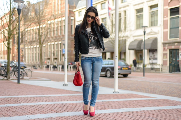 Miss-Roberta-Look-outfit Outfit: Biker jack Mango