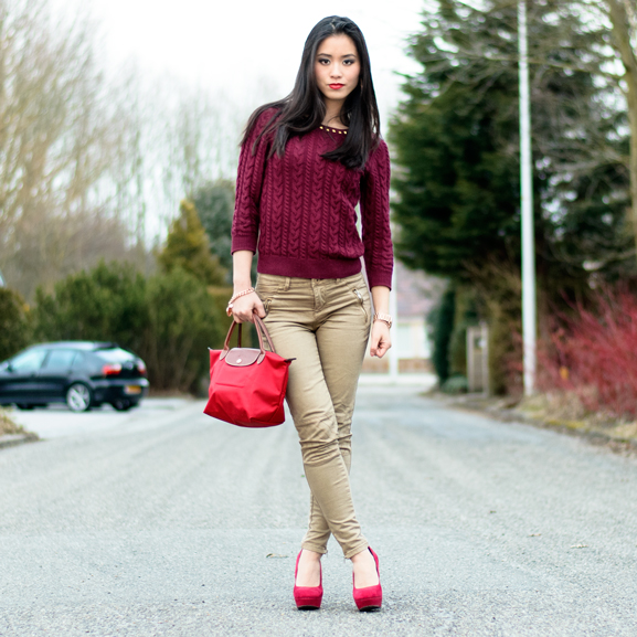 My-Huong-Boskrane-Look-Stiens-Burgundy-Outfit-Longchamp-Red-Lipstick-Guerlain Outfit: Lady in Red