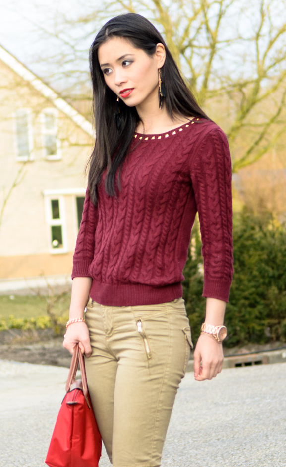 My-Huong-DIY-studs-fashion-outfit-burgundy-red-Kaki-Jeans Outfit: Lady in Red