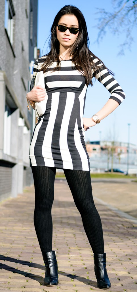 My-Huong-jurk-striped-outfit-dress-black-white OUTFIT: The striped dress