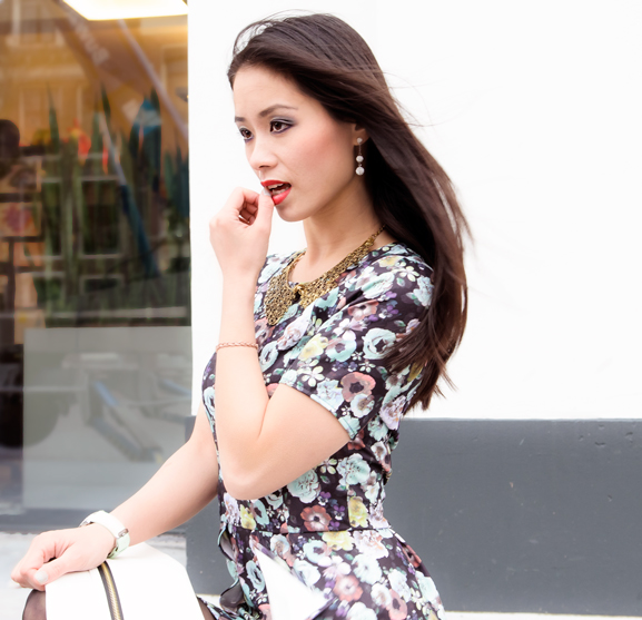 My-Huong-pastel-flower OUTFIT: Pastel Floral Peplum Dress