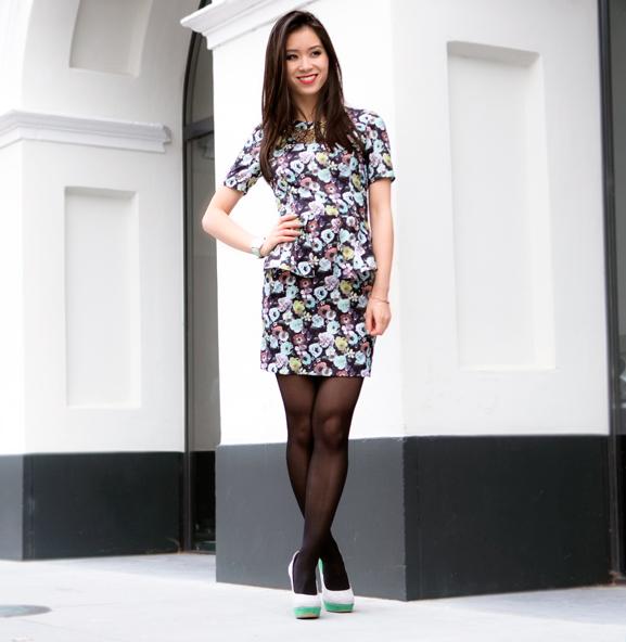 Peplum-Floral-flowers-pastel-dress OUTFIT: Pastel Floral Peplum Dress
