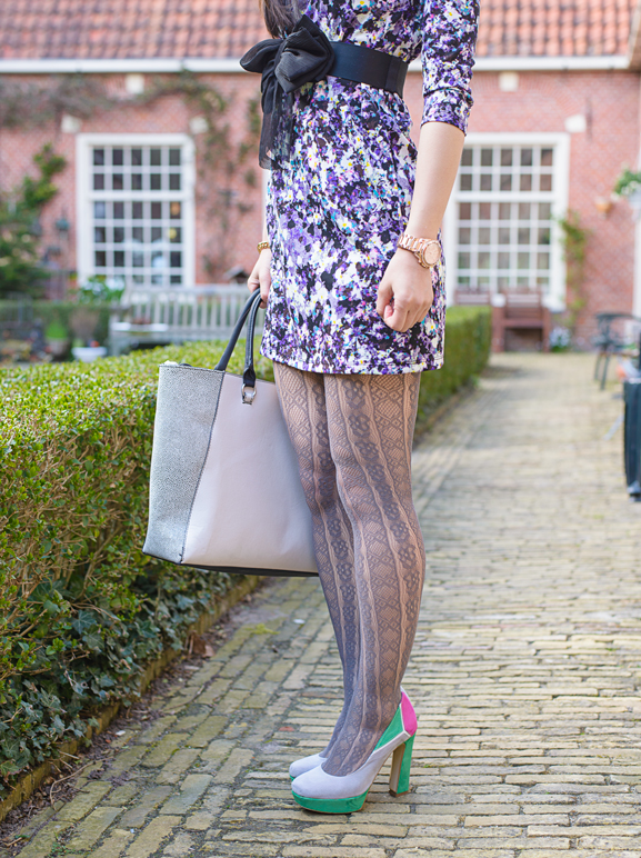 Miss-Roberta-floral-dress-purple-flowers-todd-bag Outfit: Floral Purple dress
