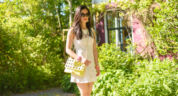 My-HUong-Neon-Fashion-blogger Outfit: The white lace dress