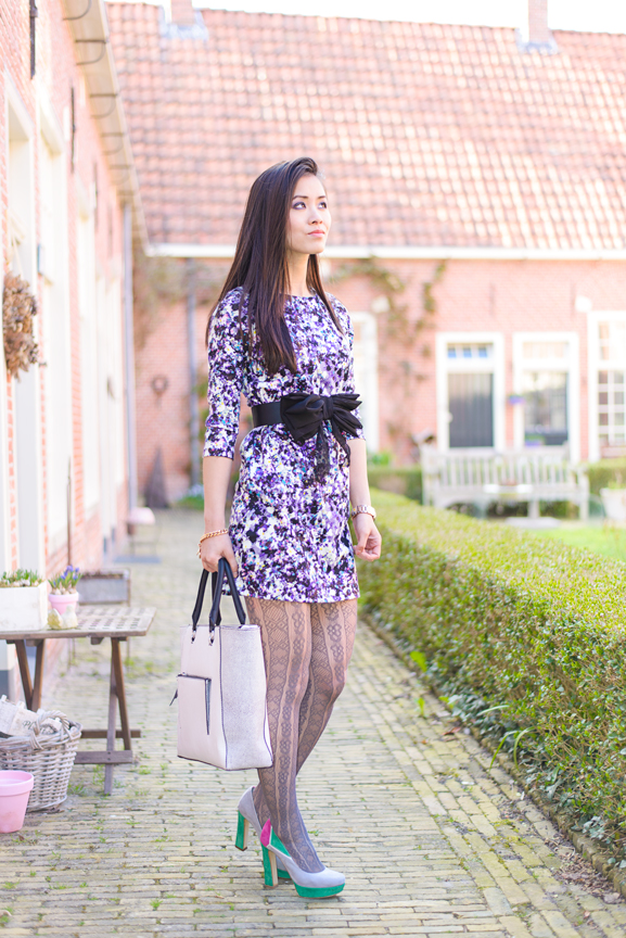 My-Huong-Pumps-panty-outfit Outfit: Floral Purple dress
