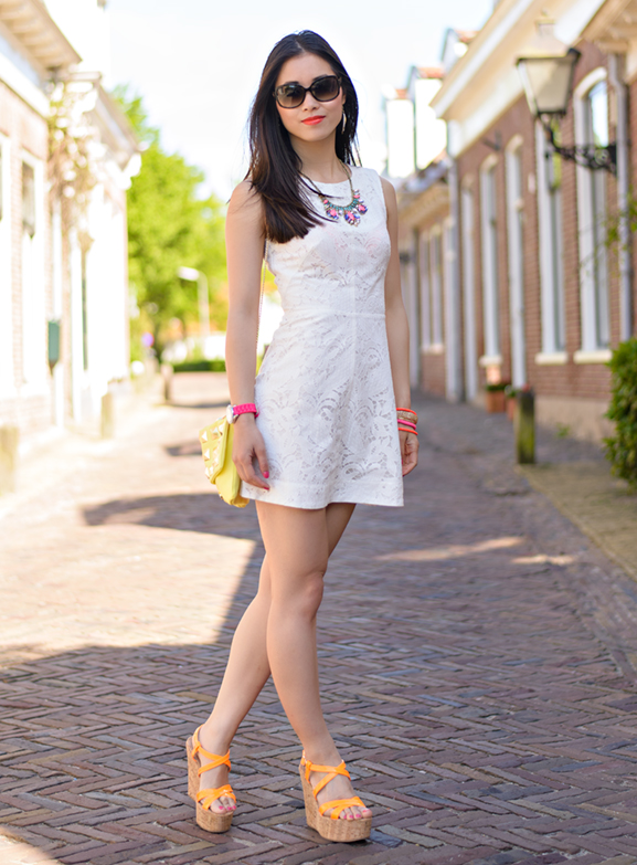My-Huong Outfit: The white lace dress