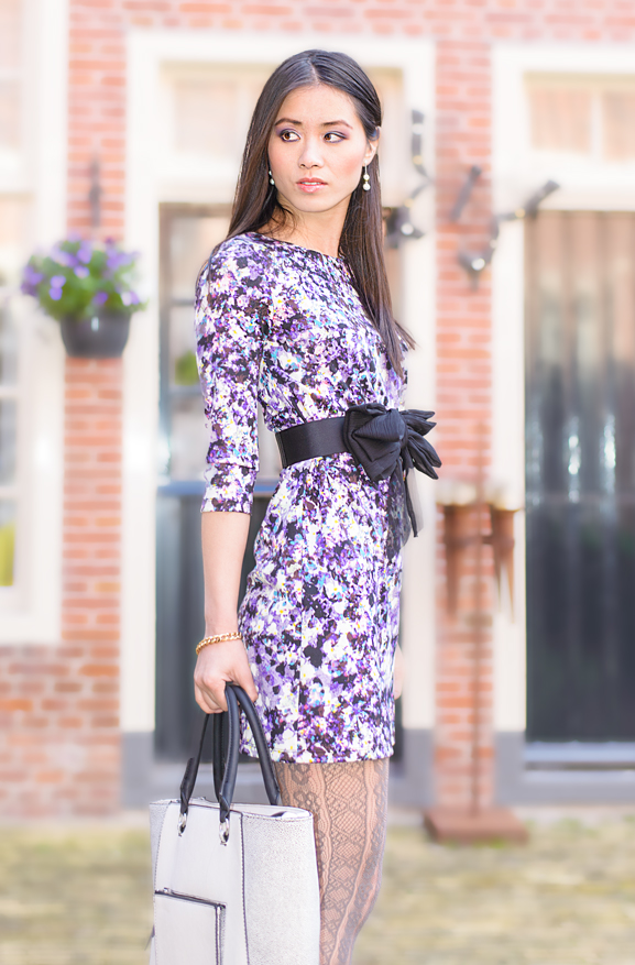 outfit-purple-dress Outfit: Floral Purple dress