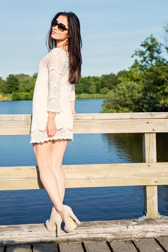 My-Huong-Jurkjes-Gehaakt Outfit: White Knitted Dress H&M