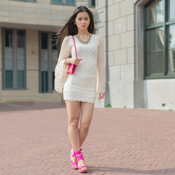 My-lace-dress-look-pink Oufit: Romantic White with Pink